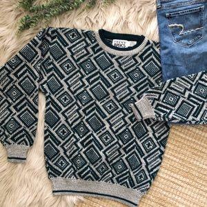 Vintage Boho Tribal Travel Dad Sweater SZ S